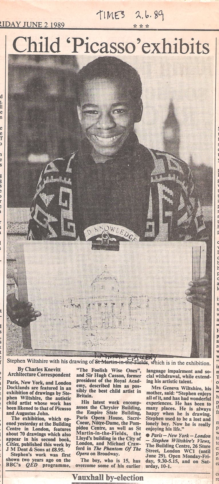 Child Picasso exhibits - The Stephen Wiltshire Archive - Press cuttings