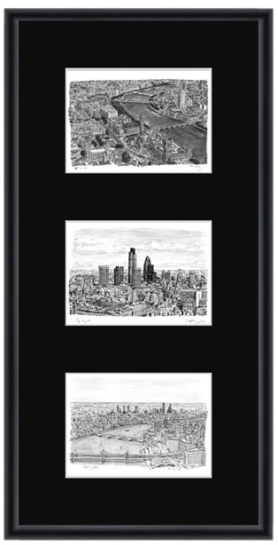london collage with black mount framed gifts and merchandise by stephen wiltshire mbe