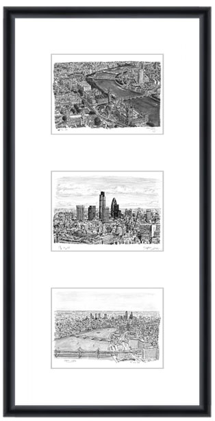 London collage with white mount (framed) - gifts and merchandise by Stephen Wiltshire MBE