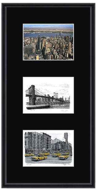 New York collage with black mount (framed) - gifts and merchandise by Stephen Wiltshire MBE