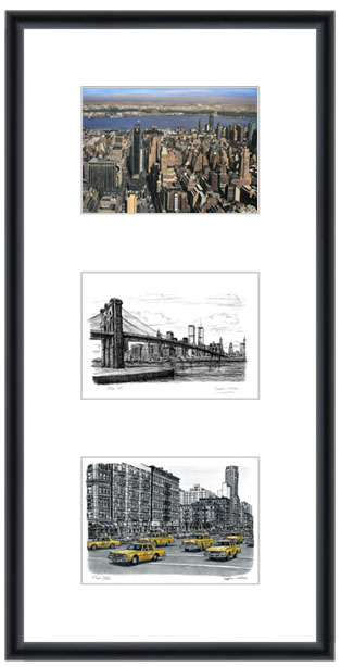 New York collage with white mount (framed) - gifts and merchandise by Stephen Wiltshire MBE