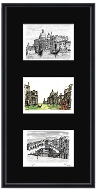 Venice collage with black mount (framed) - gifts and merchandise by Stephen Wiltshire MBE