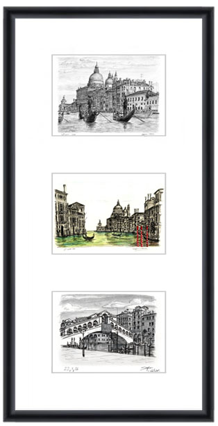 Venice collage with white mount (framed) - gifts and merchandise by Stephen Wiltshire MBE