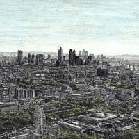 View of London from the top of BT Tower - Drawings - Originals, prints and limited editions