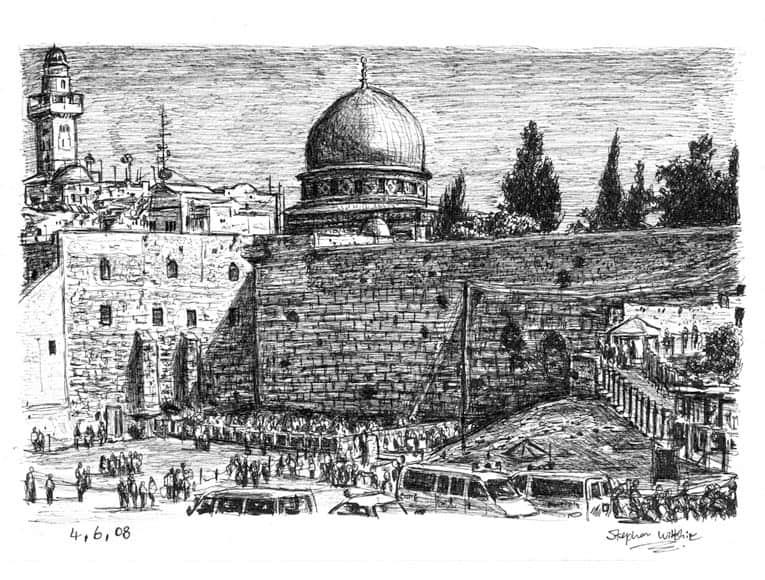 Line Art Jerusalem : Wailing wall jerusalem original drawings prints and