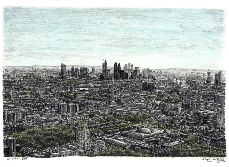 View of London from the top of BT Tower - drawings and paintings by Stephen Wiltshire MBE
