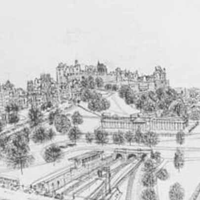 Edinburgh from the roof terrace of The Balmoral - Original drawings
