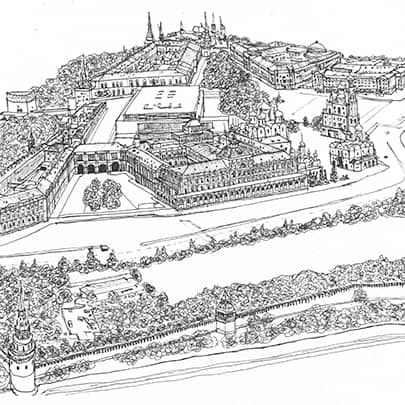 Aerial view of the Kremlin, Moscow 1990 - Original Drawings