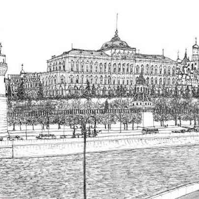The Kremlin Palace, Moscow 1990 - Original Drawings
