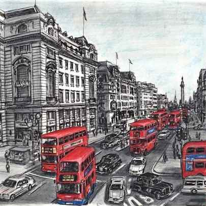 Lower Regent str with red double decker buses Lim.Ed. of 100 - Limited editions