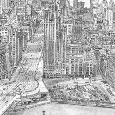 Aerial view of Chicago with Lake Michigan - Original Drawings