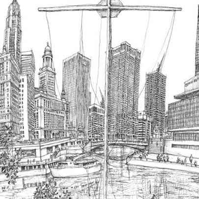View from the North Side of the Chicago River - Original Drawings