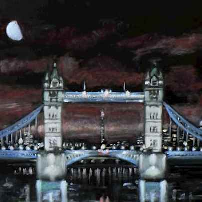 Tower Bridge at night - oil on velvet - Original drawings