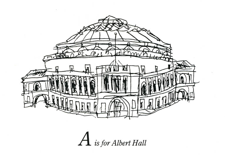 London Alphabet - A for Albert Hall - original drawings and prints by Stephen Wiltshire