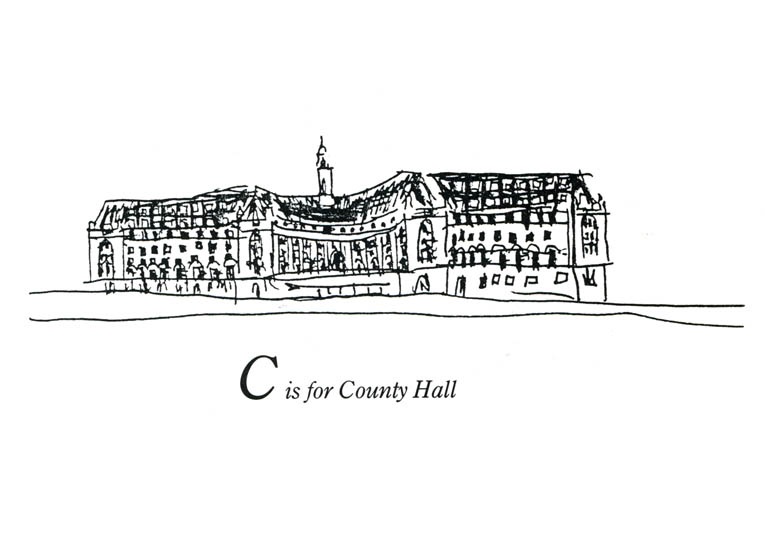 London Alphabet - C for County Hall - original drawings and prints by Stephen Wiltshire