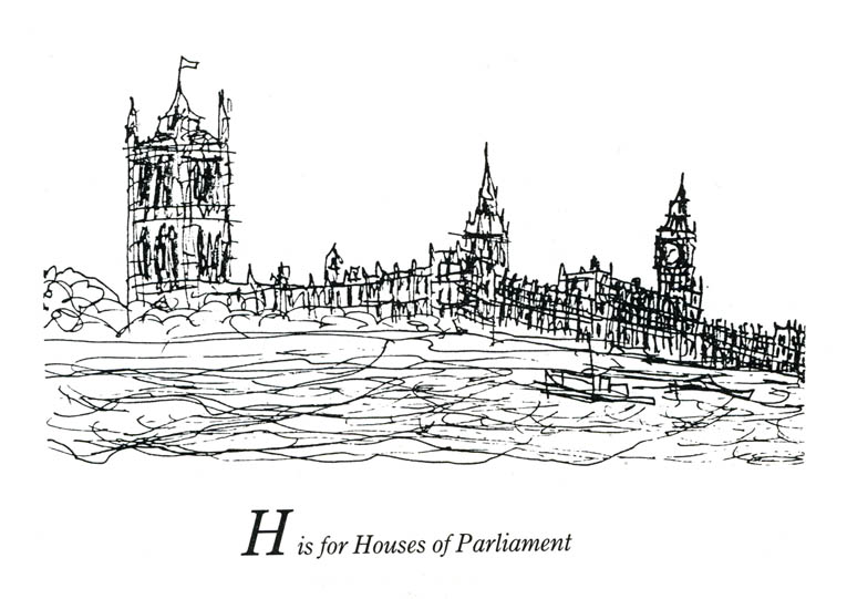 London Alphabet - H for Houses of Parliament - Original Drawings and Prints for Sale