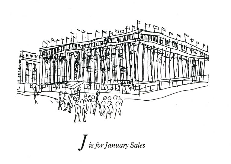 London Alphabet - J for January sales - original drawings and prints by Stephen Wiltshire