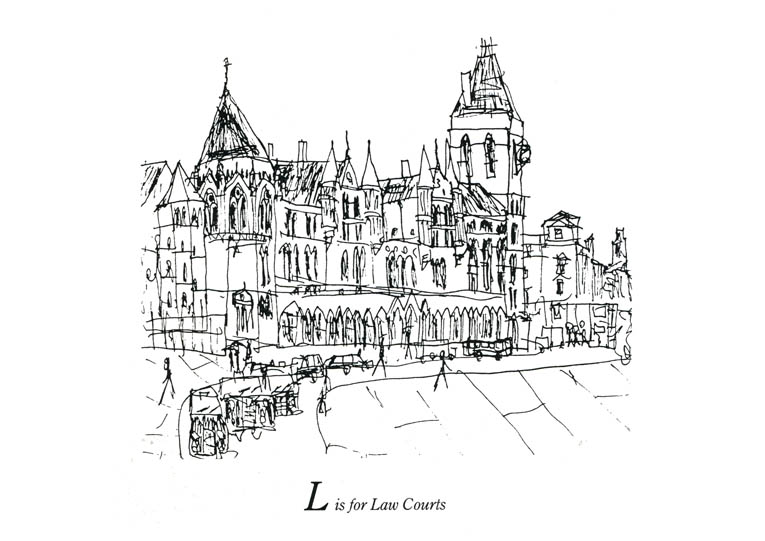 London Alphabet - L for Law Courts - original drawings and prints by Stephen Wiltshire