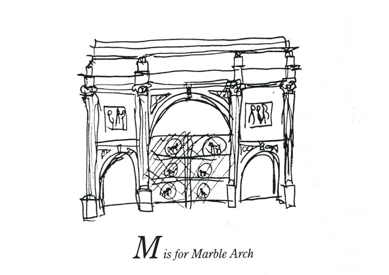 London Alphabet - M for Marble Arch - original drawings and prints by Stephen Wiltshire
