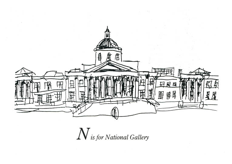 London Alphabet - N for National Gallery - original drawings and prints by Stephen Wiltshire