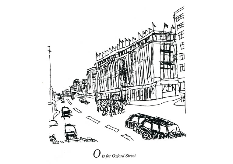 London Alphabet - O for Oxford Street - Original Drawings and Prints for Sale