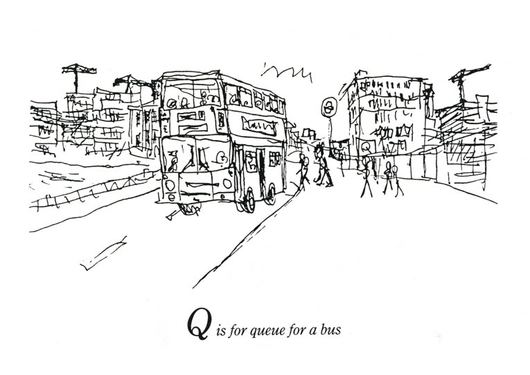 London Alphabet - Q for Queue for a bus - original drawings and prints for sale