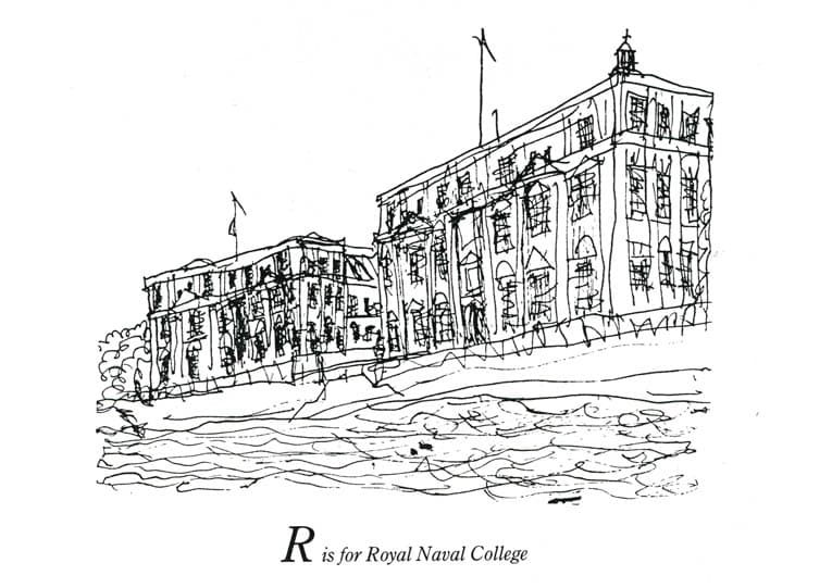 London Alphabet - R for Royal Naval College - originals and prints by Stephen Wiltshire MBE