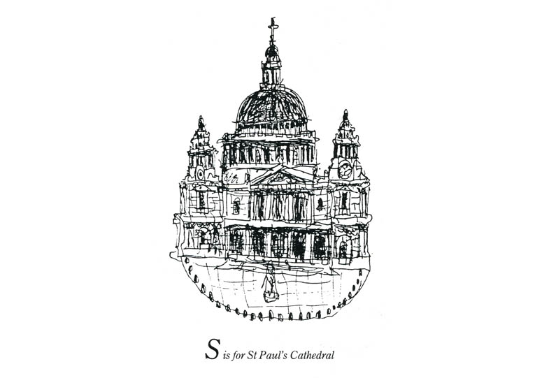 London Alphabet - S for St Pauls Cathedral - Original Drawings and Prints for Sale