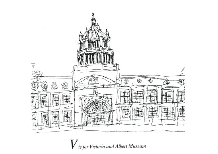 London Alphabet - V for Victoria and Albert Museum - original drawings and prints by Stephen Wiltshire