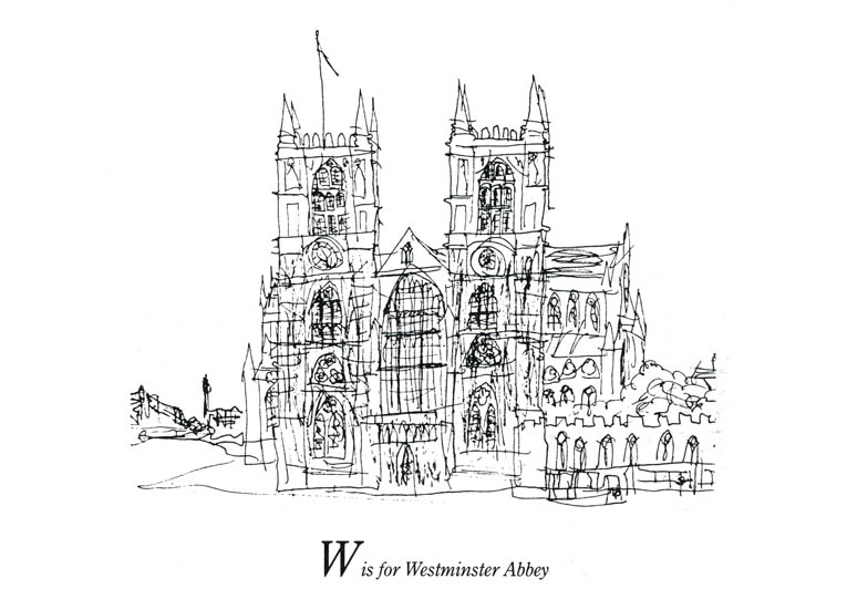 London Alphabet - W for Westminster Abbey - Original Drawings and Prints for Sale