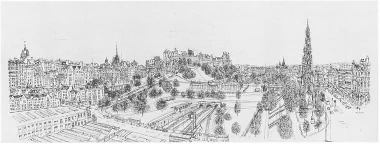 Edinburgh from the roof terrace of The Balmoral - originals and prints by Stephen Wiltshire MBE