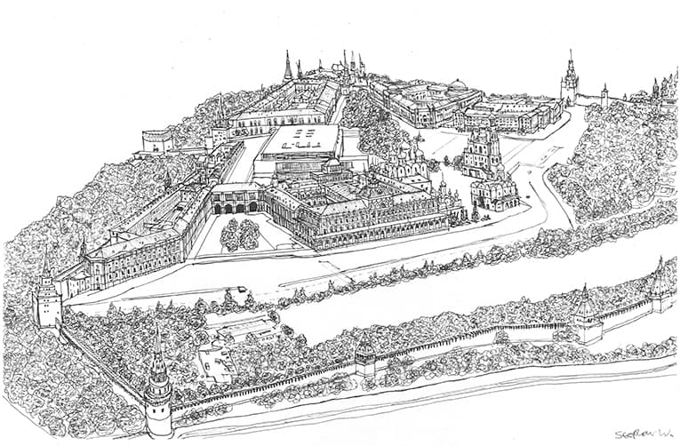 Aerial view of the Kremlin, Moscow 1990 - originals and prints by Stephen Wiltshire MBE