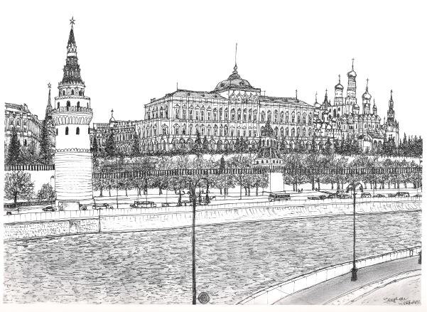 The Kremlin Palace, Moscow 1990 - original drawings and prints by Stephen Wiltshire