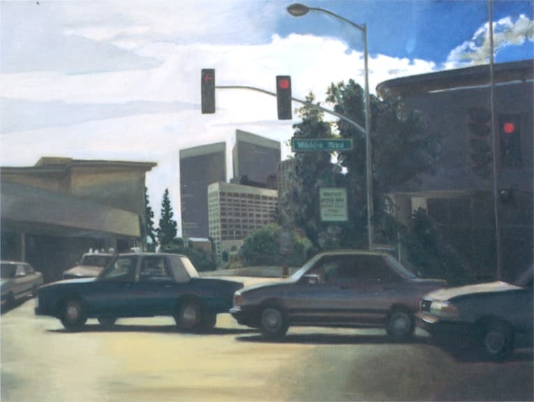 Los Angeles traffic, Oil on canvas - originals and prints by Stephen Wiltshire MBE