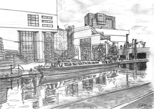 Birmingham inland waterway 1997 - original drawings and prints by Stephen Wiltshire