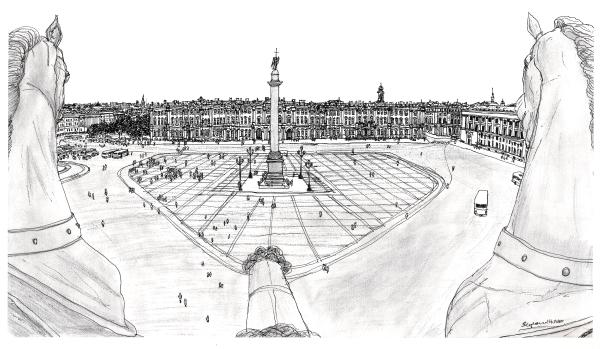 Palace Square, Leningrad 1990 - original drawings and prints for sale