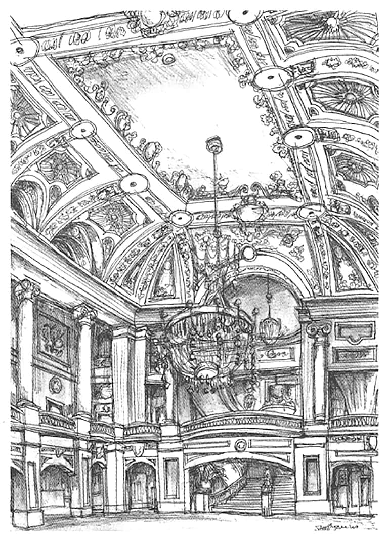 A lavish interior at the Chicago Theater - original drawings and prints for sale