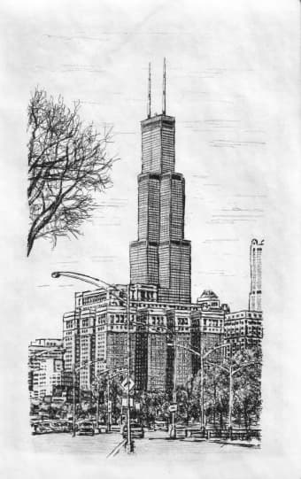 Chicago, Sears Tower 2003 - Original Drawings and Prints for Sale