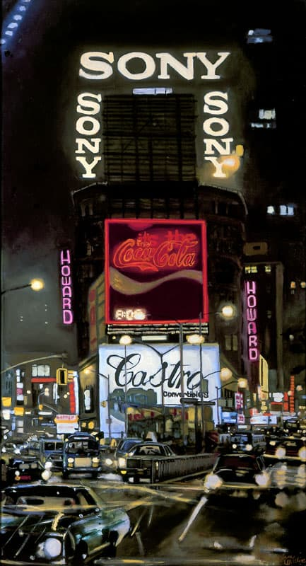 Times Square at night, oil on board - originals and prints by Stephen Wiltshire MBE