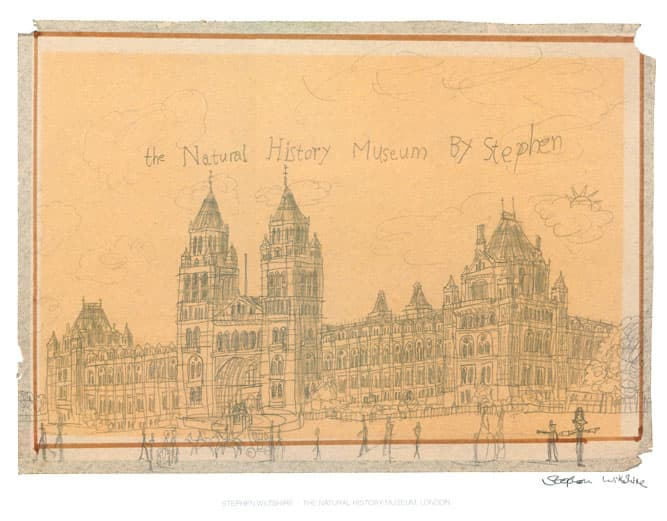 Natural History Museum, London 1983 - originals and prints by Stephen Wiltshire MBE