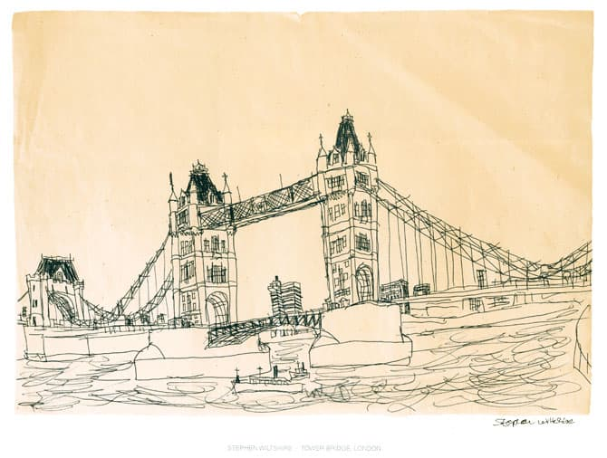 Tower Bridge, London 1983 - originals and prints by Stephen Wiltshire MBE