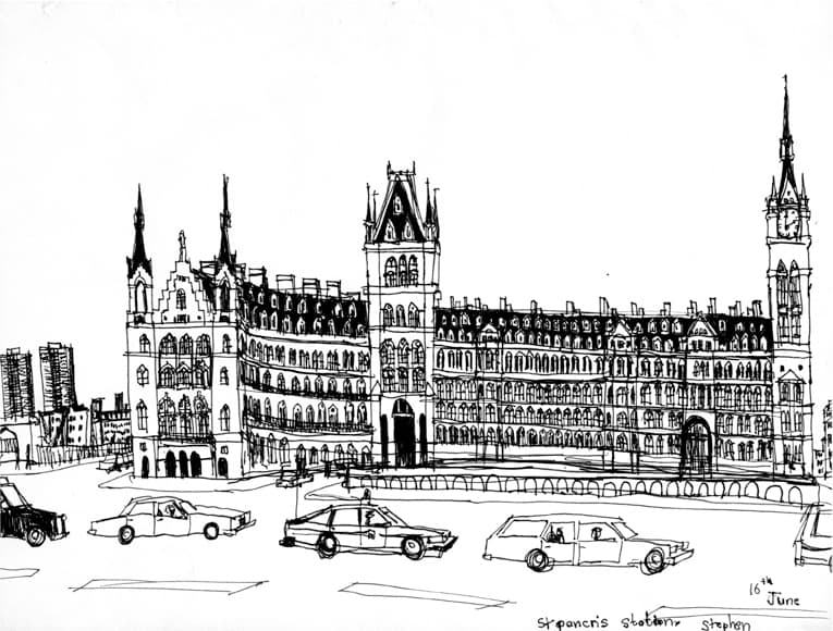 St Pancras Station 1988 - originals and prints by Stephen Wiltshire MBE