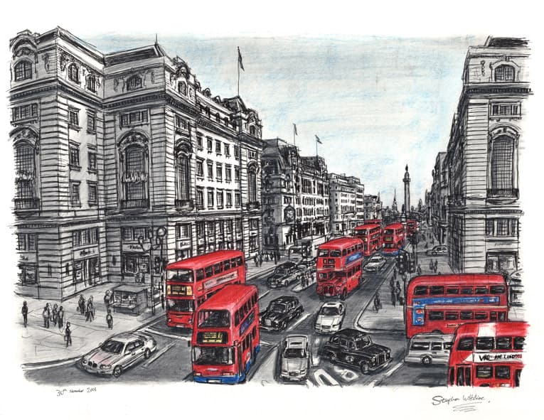 Lower Regent street with Red Double Decker Buses - originals and prints by Stephen Wiltshire MBE
