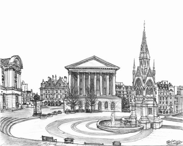 Chamberlain Square, Birmingham 1997 - Original Drawings and Prints for Sale