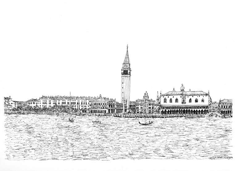 View from San Giorgio Maggiore - originals and prints by Stephen Wiltshire MBE