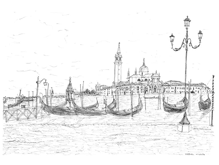 San Giorgio Maggiore and gondolas - original drawings and prints by Stephen Wiltshire