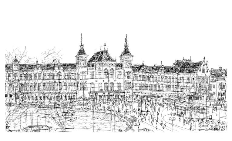 Central Station - originals and prints by Stephen Wiltshire MBE