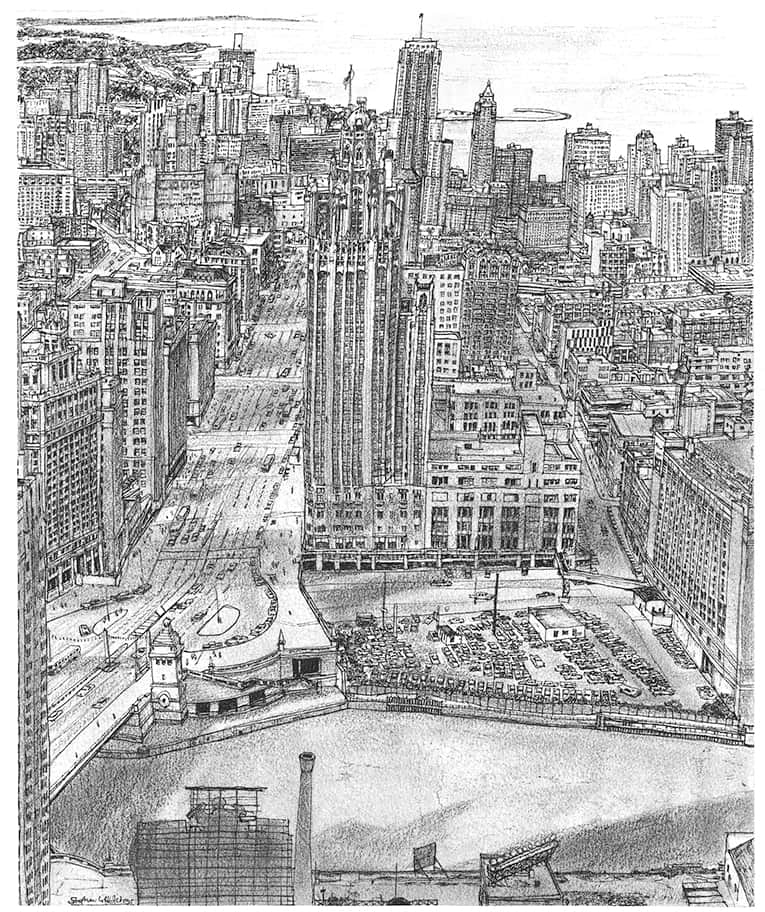 Aerial view of Chicago with Lake Michigan - Original Drawings and Prints for Sale