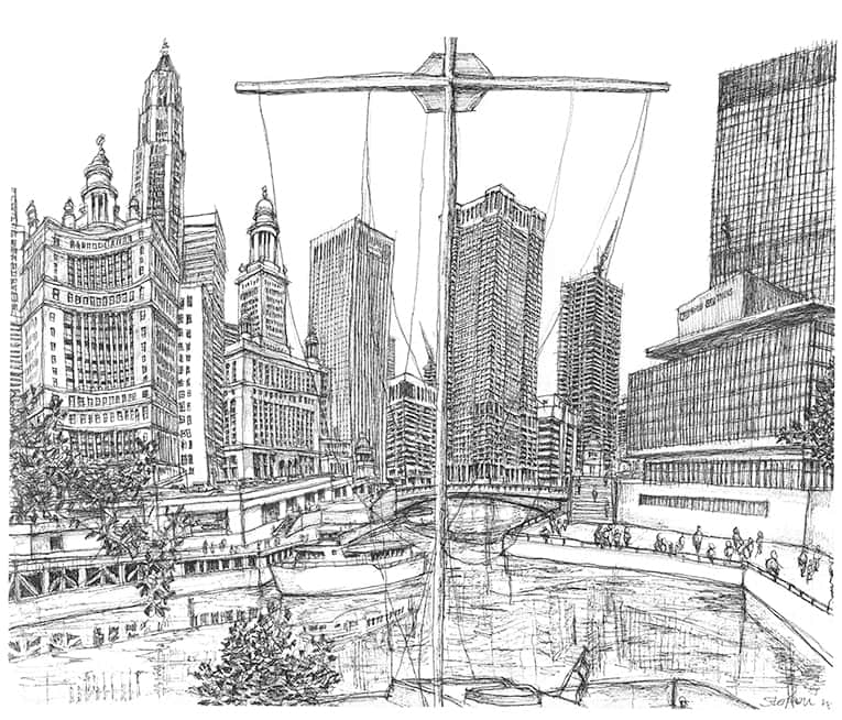 View from the North Side of the Chicago River - drawings and paintings by Stephen Wiltshire MBE