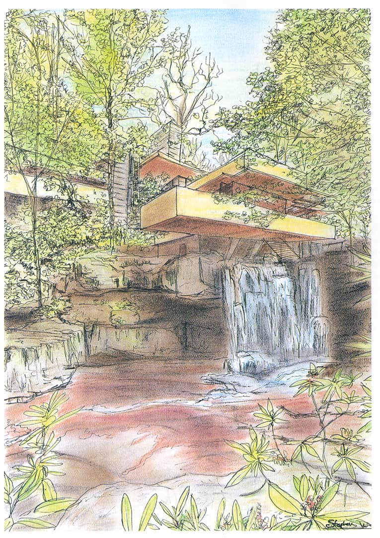 Fallingwater - Bear Run - Pennsylvania - Original Drawings and Prints for Sale